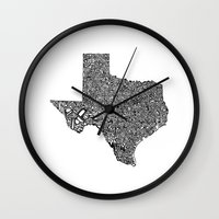 texas Wall Clocks featuring Typographic Texas by CAPow!