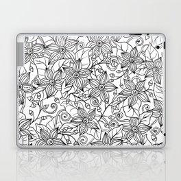 Modern black white hand drawn floral Laptop & iPad Skin