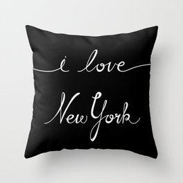 I Love New York B&W Throw Pillow