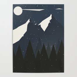 Mountains and Forest of Pine trees at night. Winter Landscape - Illustration Poster