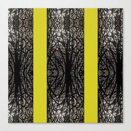 Gothic tree striped pattern mustard yellow Canvas Print