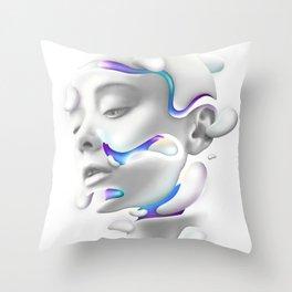 3D Woman Face Throw Pillow