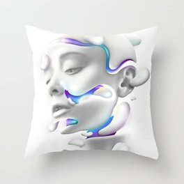 3D Woman Face Throw Pillow