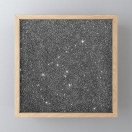 Modern elegant black faux glitter luxury pattern Framed Mini Art Print