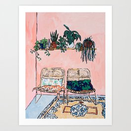 Two Chairs and a Napping Ginger Cat Art Print