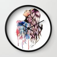 vogue Wall Clocks featuring Teen Vogue by Tiko Meow