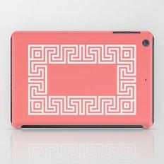 Greek Key coral iPad Case
