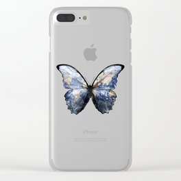 Blue Morpho Earth Butterfly Clear iPhone Case