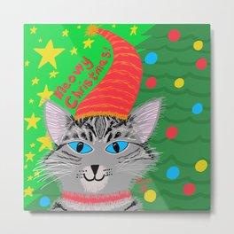 Christmas Cat Grey Tabby long hair blue eyes Metal Print