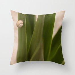 Snail in green Throw Pillow