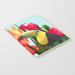 Toucan Tropical Banana Leaves Bouquet Notebook