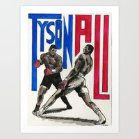 mike tyson Art Prints featuring Tyson vs Ali poster by The Chao man