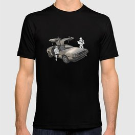 Lost, searching for the DeathStarr _ 2 Stormtrooopers in a DeLorean  T-shirt