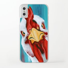 Sticky Beak - Colorful Chicken Art Clear iPhone Case