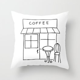 Little Coffee House // Cafe Sketch Throw Pillow