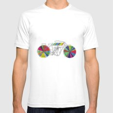 Rainbow Cycle White Mens Fitted Tee SMALL