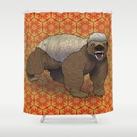 badger Shower Curtains featuring Honey Badger by Dusty Goods