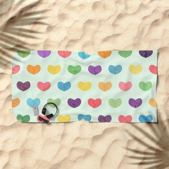 Colorful hearts Beach Towel