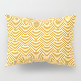 Japanese Waves (White & Orange Pattern) Pillow Sham