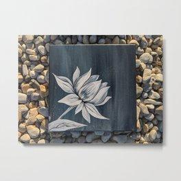 Black and White Lotus Painting on Rocks Metal Print