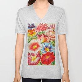 Colorful Japanese Morning Glory Flowers Unisex V-Neck