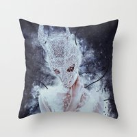 nightmare Throw Pillows featuring Nightmare by Kryseis Retouche