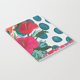 Tropical Bouquet in Living Coral and Emerald Green Notebook