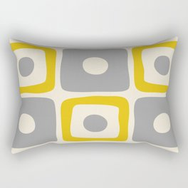 Mid Century Modern Square Dot Pattern 592 Yellow and Gray Rectangular Pillow