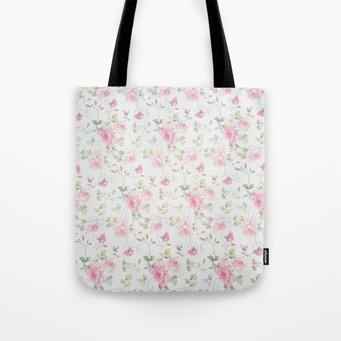 Elegant blush pink white vintage rose floral Tote Bag