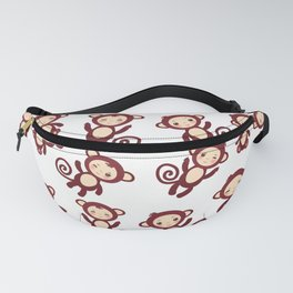 pattern with funny brown monkey boys and girls on white background. Vector illustration Fanny Pack