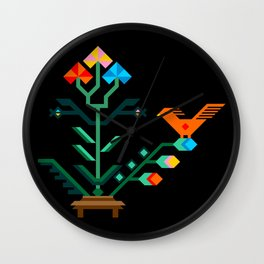 Flower and bird Wall Clock