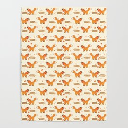 Red Fox & Hearts Pattern Poster