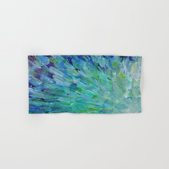 SEA SCALES - Beautiful Ocean Theme Peacock Feathers Mermaid Fins Waves Blue Teal Color Abstract Hand & Bath Towel