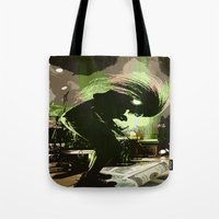rock n roll Tote Bags featuring Rock N Roll by DTGTEEZ