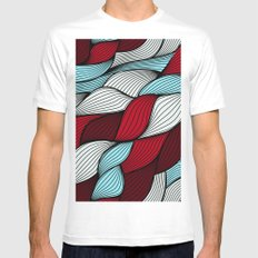 Red blue knit White Mens Fitted Tee MEDIUM