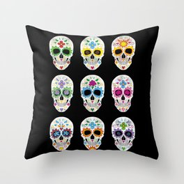 Nine skulls Throw Pillow