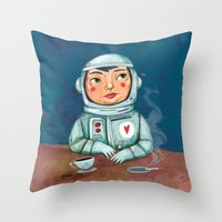 spaceman Throw Pillows featuring Spaceman by Milena Milak