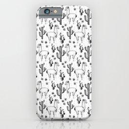 Llama Llamarama + Cactus Pattern iPhone Case