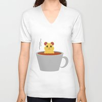 bath V-neck T-shirts featuring Hamster Bath by Cecily Cloud