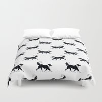 border collie Duvet Covers featuring Casper in the snow / Border Collie  by Lauren C Skinner