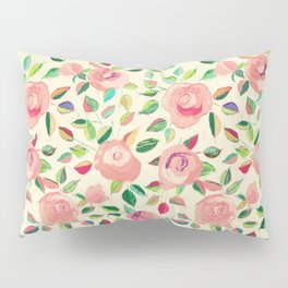 Pastel Roses in Blush Pink and Cream  Pillow Sham