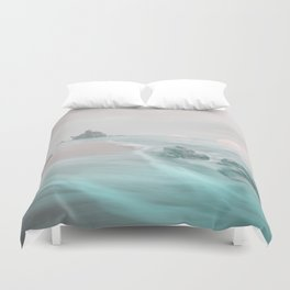 Dreamy Beach In Pink And Turquoise Duvet Cover