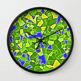 Realistic mozaic print in olive - blue Wall Clock