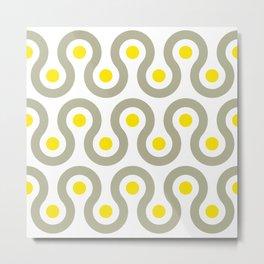 Geometric Pattern #75 (gray yellow wave) Metal Print