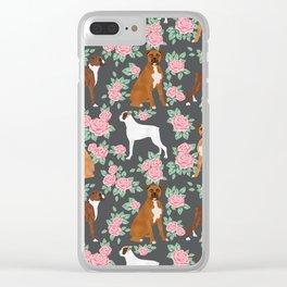 Boxer florals floral pattern dog portrait pet friendly dog breeds boxers Clear iPhone Case