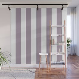 Heliotrope gray - solid color - white vertical lines pattern Wall Mural