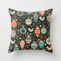 folk Throw Pillows featuring Festive Folk Charms by Poppy & Red