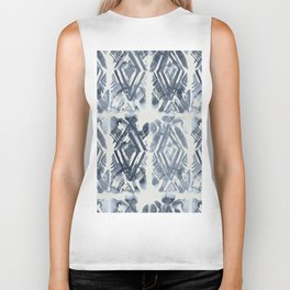 Simply Ikat Ink in Indigo Blue on Lunar Gray Biker Tank