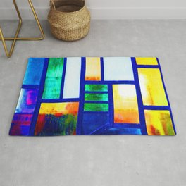 Art Deco Colorful Stained Glass Rug