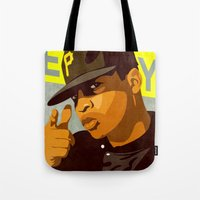 chuck Tote Bags featuring Chuck D by Kim Hoffnagle